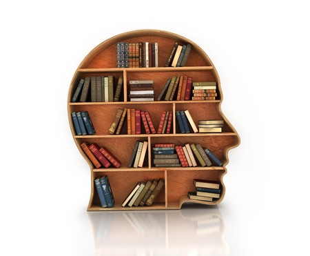 library shelf: Wood Bookshelf in the Shape of Human Head and books with reflection Stock Photo