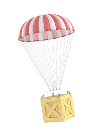 fallschirm: Holzkiste fallen auf den Fallschirm auf einem wei�en Hintergrund.