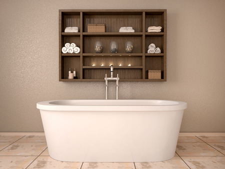 toallas: Ilustración 3D de baño moderno con estantes de madera