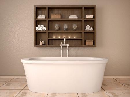 llave de agua: Ilustración 3D de baño moderno con estantes de madera