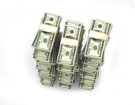 hundred dollar bill: Money stacked