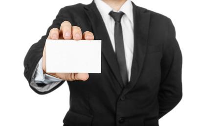 trade credit: businessman holding blank visit card Stock Photo