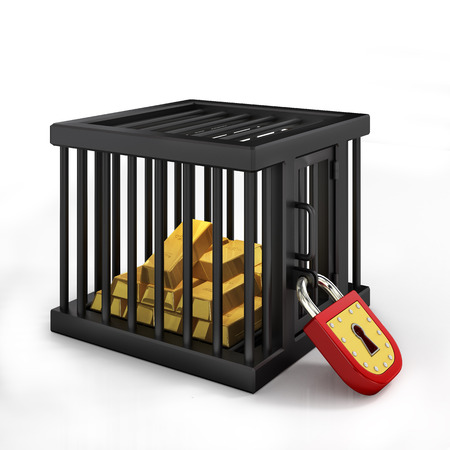 Gold in cage Stock Photo