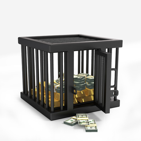 prison house: Money in cage