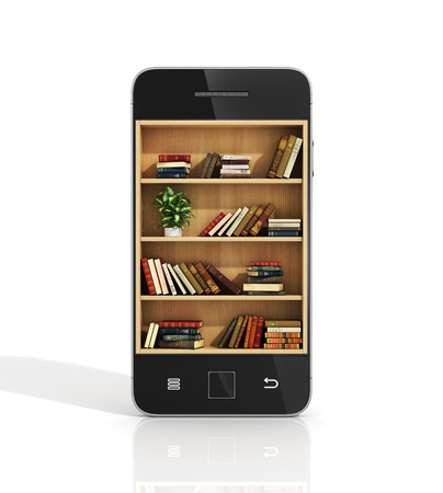 technology symbols metaphors: e-book concept. Bookshelf with books in the phone display.