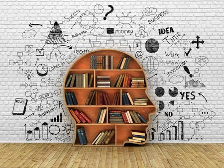 Holz Bücherregal in der Form eines menschlichen Kopfes und Bücher in der Nähe von Pause Wand, Wissen Konzept