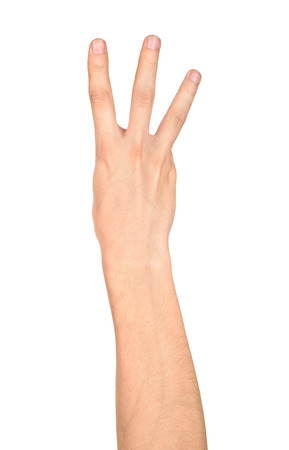 three fingers: male hand is showing three fingers isolated on white background. big size Stock Photo