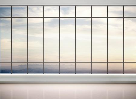 3D-Darstellung der leeren Büro mit großen Fenstern