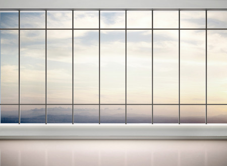 office window view: 3d illustration of empty office with large windows