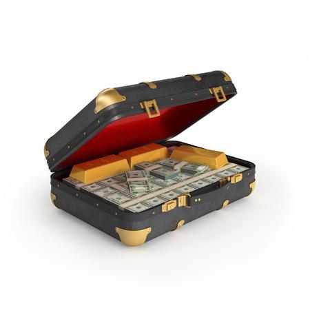 cash box: Money in case Stock Photo