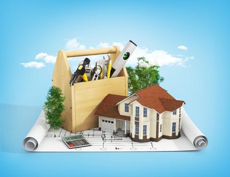 Concept van reparatie en het bouwen van huis. Reparatie en bouw van het huis. Hulpmiddeldoos dichtbij een huis met bomen op de blauwdruk. Stockfoto