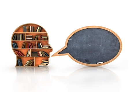 wisdom: Wood Bookshelf in the Shape of Human Head and books with school blackboard , Knowledge Concept