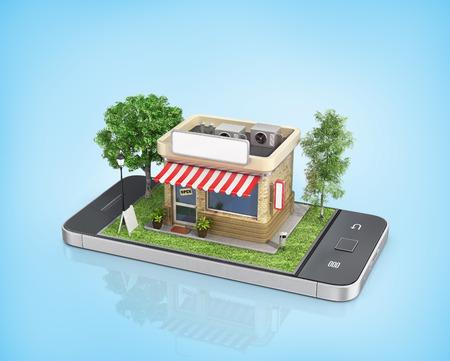 모바일 스토어의 개념입니다. 온라인 매장. 판매, 스마트 폰. 전화기 디스플레이에 나무와 잔디와 아름다운 가게.