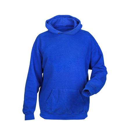 sudadera: sudadera azul con capucha aislados en fondo blanco