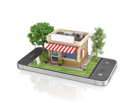 Concept de magasin mobile. Boutique en ligne. Vente, smartphone. Belle boutique avec des arbres et de l'herbe dans l'écran du téléphone.