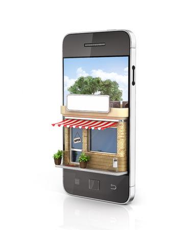 Konzept des Telefon Online-Shop. Online-Shop Handy flaches Design. Schöne Geschäft auf dem Bildschirm des Telefons.