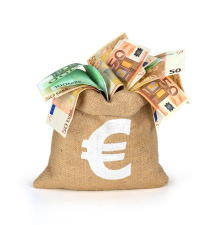 billets euros: Sac d'argent avec des factures différentes euros Banque d'images