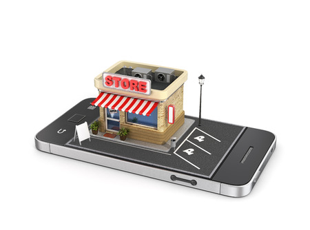 Concept of mobile store. Online store. Sale, smartphone. Beautiful shop with zone for parking in the phone display.