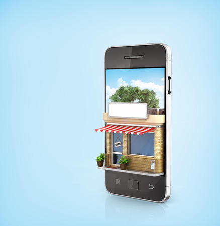 Concept of phone online store. Online store mobile flat design. Beautiful shop in the screen of phone. Foto de archivo