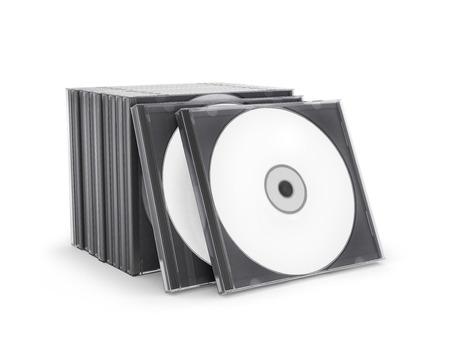 CD box met schijfremmen op een witte achtergrond Stockfoto