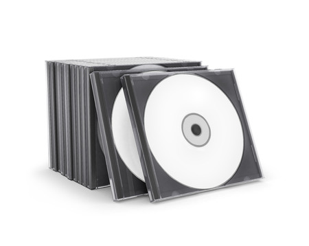 cd label: CD Box with disc on white background