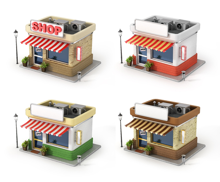 Set of shops. Store with copy space board. Stock Photo