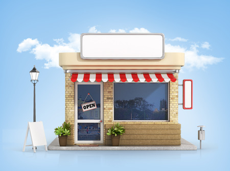 puerta abierta: Concepto de tienda. Almacene con tabla de espacio de la copia en el fondo del cielo. Foto de archivo