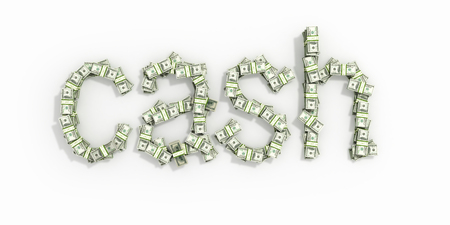 white interest rate: The word cash, made out of 100 bills. Isolated on white background.