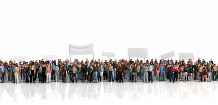 Protest of crowd. Large crowd of people stay on a line on the white background.