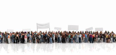 multitud gente: Protesta de multitud. Multitud de personas permanecer en una línea en el fondo blanco.