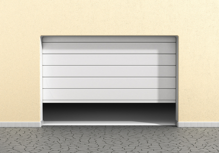 Open garage door at a modern building. Garage concept. Stock Photo