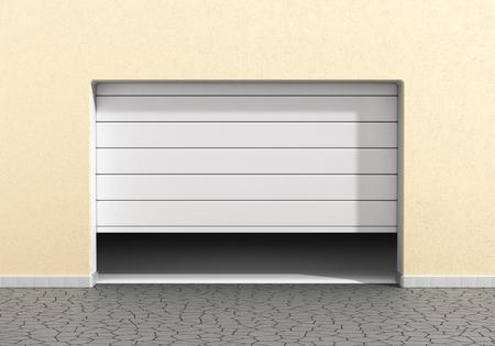 Open garage door at a modern building. Garage concept. Banque d'images
