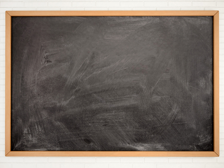 Blackboard chalkboard texture. Empty blank black chalkboard with chalk traces Banco de Imagens