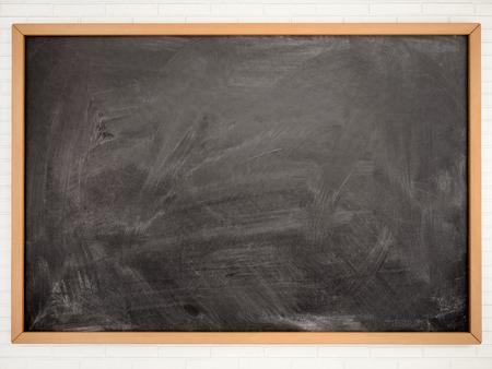 Blackboard chalkboard texture. Empty blank black chalkboard with chalk traces Archivio Fotografico