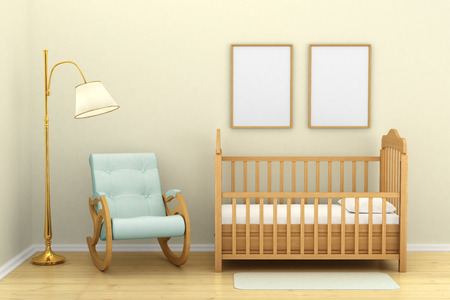wall clouds: Childrens bedroom with a crib, chair and floor lamp, Stock Photo