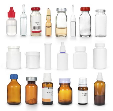 botellas de plastico: conjunto de varias botellas de medicina aislado
