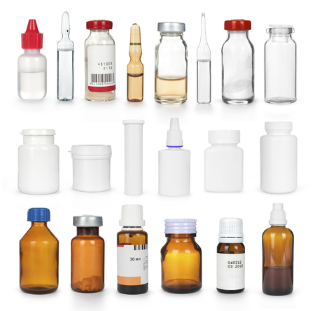 set of various medical bottles isolated
