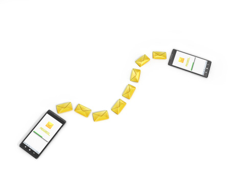 messaging: messaging, texting, chatting 3d concept - two cell phones with message icons