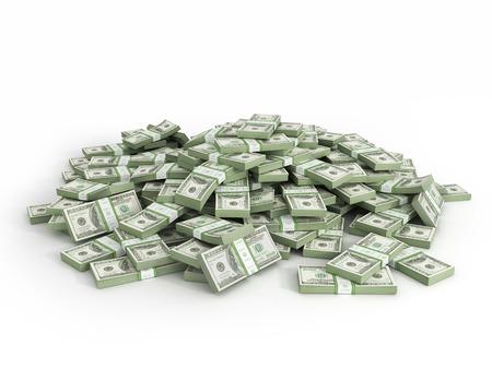 Pila de paquetes de billetes de un dólar