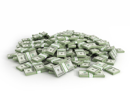 one hundred dollars: Pile of packs of dollar bills