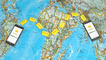 messaging, texting, chatting 3d concept - two cell phones with message icons on a map of the world