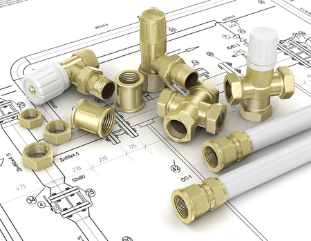 hoses: Plumbing valves and hoses in the drawings