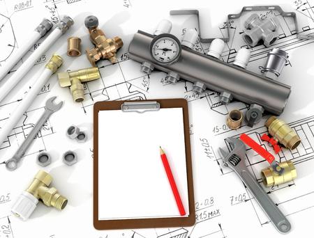 Klempnerwerkzeuge in den Zeichnungen