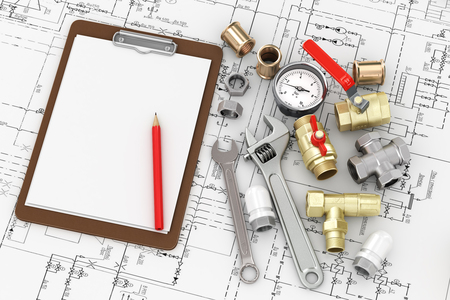 the faucet: Herramientas para plomería reparación con la hoja en blanco para escribir el texto en el dibujo.