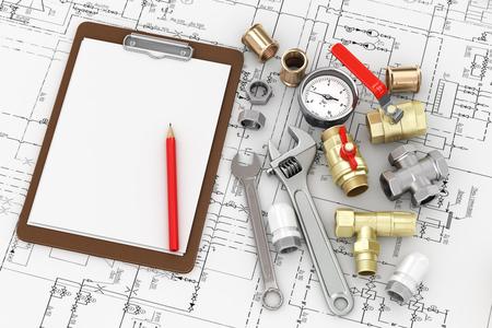 Werkzeuge für die Reparatur Sanitär mit leeren Blatt, um den Text auf der Zeichnung zu schreiben.