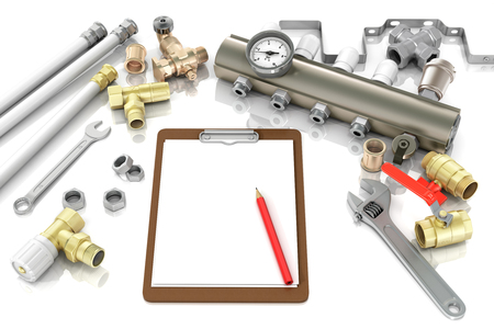 Home repair: plumbing and tools with a notebook to write text