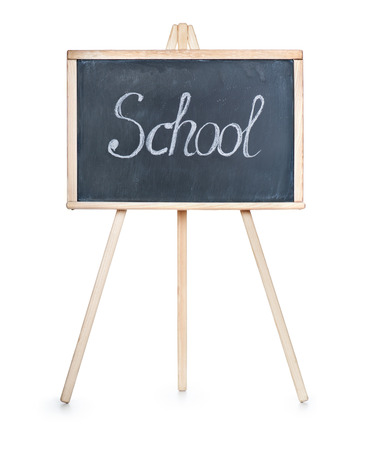 isolation backdrop: School board with writing on it the word school on a white bac Stock Photo
