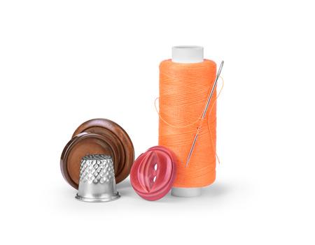 darning needle: thread, needle and thimble isolated on white