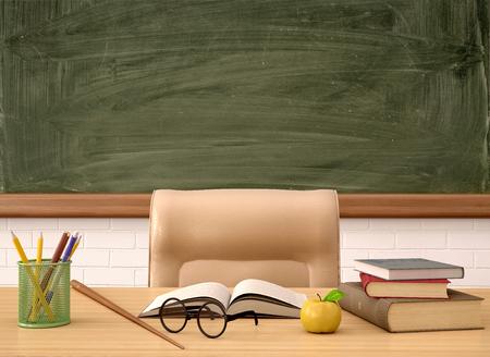maestra enseñando: 3d ilustración de la mesa del profesor en frente de una Junta verde