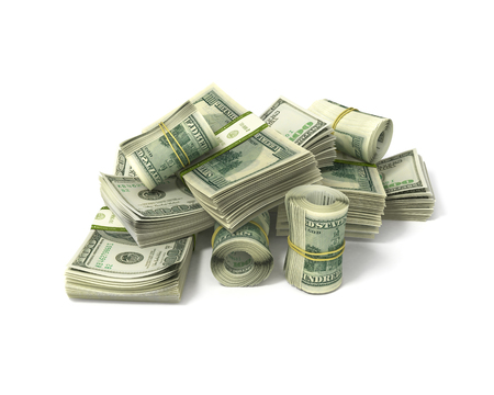 pay money: rolls of dollars and stacks of bills isolated on white
